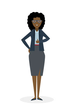 thump up: Businesswoman with thump up on white background. African american white-collar gesturing thumb up. Successful and positive consultant. Greeting or agreement. Illustration
