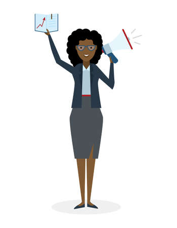 happy business woman: Business woman with book and megaphone on white background. Isolated african american businesswoman holding loudspeaker and book. Announcement and advertising. Attention please. Loud voice.