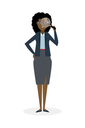analyzing: Businesswoman with magnifier on white background. Isolated character. African american observer. Analyzing tool. Magnifying glass. Curiosity and research in business.