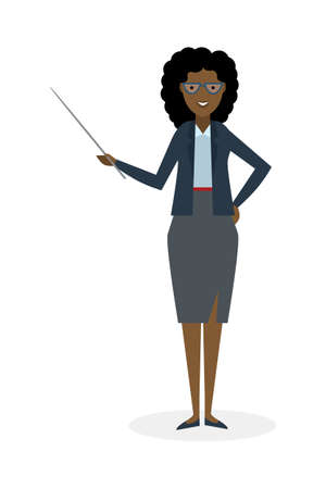 presenter: Businesswoman with pointer on white background. Businesswoman standing isolated. Presenter and salesman. Smiling positive african american woman.