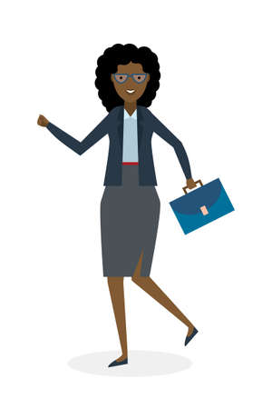 businesswoman suit: Businesswoman running on white background. Isolated cartoon character. African american businesswoman with suit case. Successful achievement. Active work. Fast lifestyle.