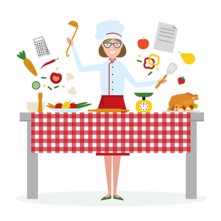 preparing food: Female chef cooking on white background. Restaurant worker preparing food. Chef uniform and hat. Table and cafe equipment.