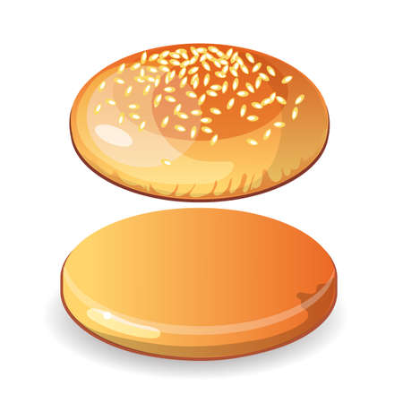 sesame seeds: Empty hamburger bun with sesame seeds on white background. Isolated cheesburger roll. Incomplete, blank. Illustration