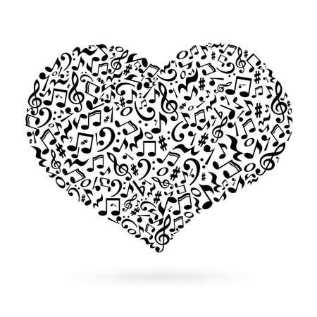 Isolierte Herz Aus Noten Auf Weißem Hintergrund. Herz-förmigen ...