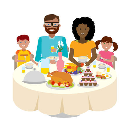 multicultural: Happy multicultural family dinner table. Thanksgiving celebration. Cake and turkey. Holiday togetherness.