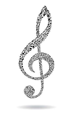 octaves: Treble clef made of music notes on white background. Black notes pattern. Black and white design. G clef shape. Poster and decoration idea.