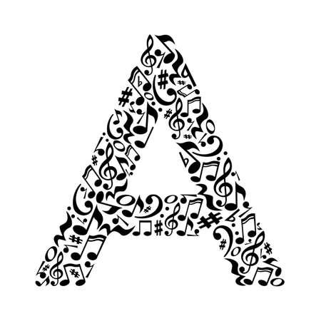 List wykonane z nut na białym tle. Alfabet dla szkoły artystycznej. Trendy czcionki. Dekoracji graficznej.