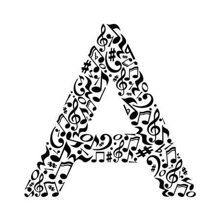 A letter made of musical notes on white background. Alphabet for art school. Trendy font. Graphic decoration. Illustration