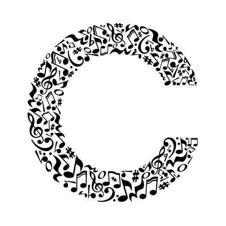 C letter made of musical notes on white background. Alphabet for art school. Trendy font. Graphic decoration.