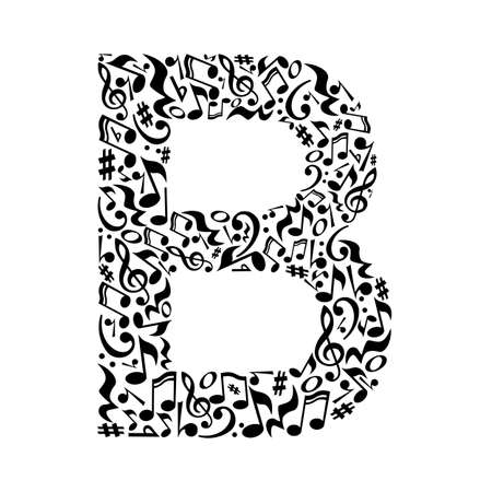 B letter made of musical notes on white background. Alphabet for art school. Trendy font. Graphic decoration.