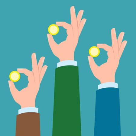three hands: Three hands with golden coins. Concept of charity, investment. Market and bank business. Hands holding coins.