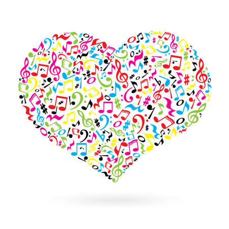 Isolated heart made of notes on white background. Heart shaped pattern. Musical art. Colorful musical notes. Illustration