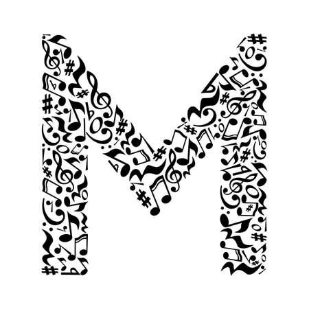 M brief gemaakt van de muzikale noten op een witte achtergrond. Alfabet voor de kunstacademie. Trendy lettertype. Grafische decoratie.