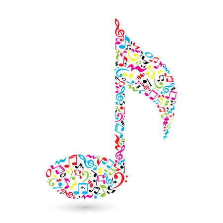 Music note made of music notes. Colorful notes pattern. Note shape. Poster and decoration idea. Иллюстрация