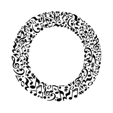 lettre O faite de notes de musique sur fond blanc. Alphabet pour l'école d'art. Trendy police. décoration graphique. Vecteurs
