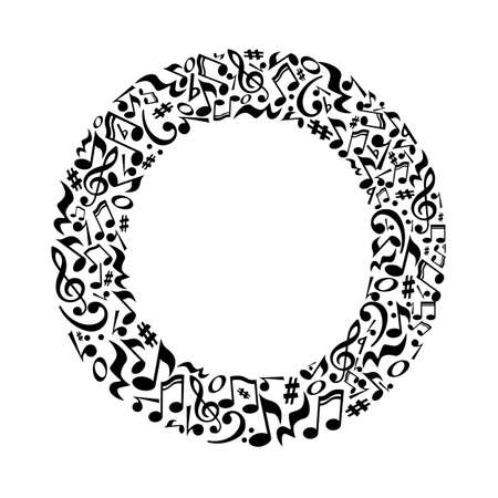 O letter made of musical notes on white background. Alphabet for art school. Trendy font. Graphic decoration. Illustration