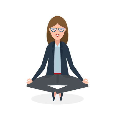 concentration: Businesswoman in lotus pose on white background. Isolated businesswoman. Concept of recreation, concentration and meditation. Yoga pose. Illustration