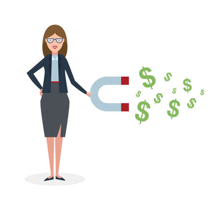 magnetism: Businesswoman with magnet on white background. Businesswoman holding magnet. Magnetize money, wealth, finance. Earn money. Illustration