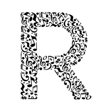 R letter made of musical notes on white background. Alphabet for art school. Trendy font. Graphic decoration.
