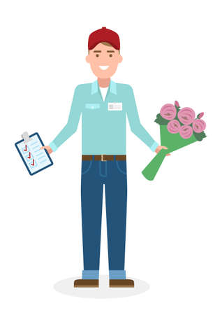 courier: Delivery man with flowers. Fast transportation. Isolated cartoon character on white background. Postman, courier with clipboard and bouquet. Illustration