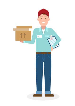 courier: Delivery man with parcel. Fast transportation. Isolated cartoon character on white background. Postman, courier with clipboard and package. Illustration