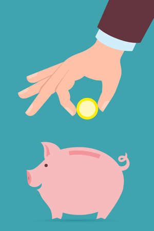 to collect: Hand with coin and piggy bank. Hand holding coin. Concept of savings, earnings. Collect to pig bank.