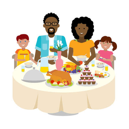 togetherness: Happy multicultural family dinner table. Thanksgiving celebration. Cake and turkey. Holiday togetherness.