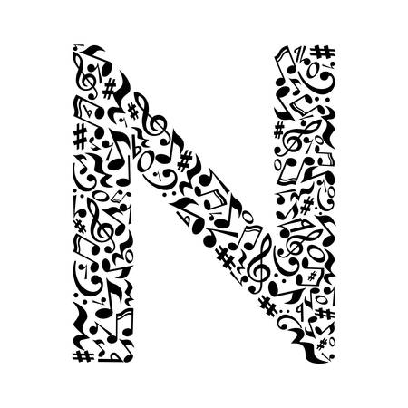 N letter made of musical notes on white background. Alphabet for art school. Trendy font. Graphic decoration. Иллюстрация