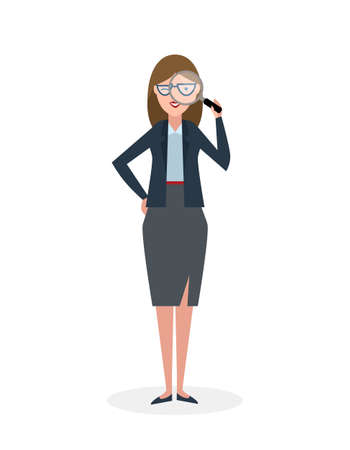 observer: Businesswoman with magnifier on white background. Isolated character. Observer. Analyzing tool. Magnifying glass. Curiosity and research in business.