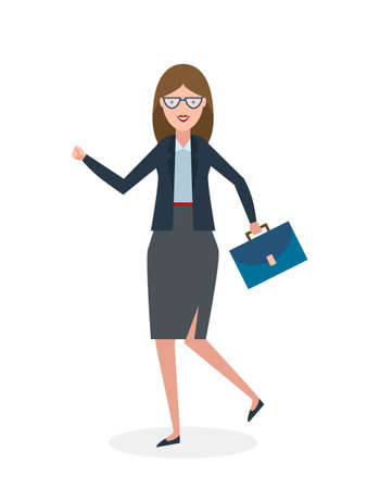 suit case: Businesswoman running on white background. Isolated cartoon character. Businesswoman with suit case. Successful achievement. Active work. Fast lifestyle.