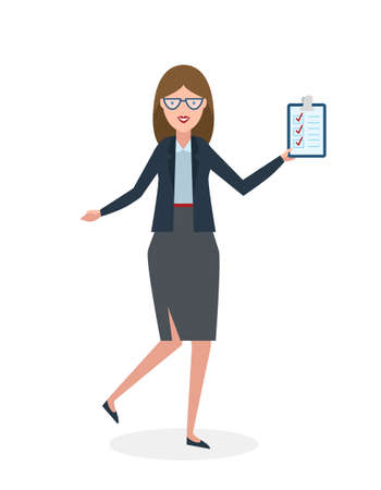 Businesswoman with clipboard and thumb up on white background. Isolated character. Businesswoman holding clipboard. Concept of supply, planning, agree, approve.