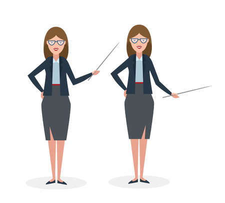 businesswoman standing: Businesswoman with pointer on white background. Businesswoman standing isolated. Presenter and salesman. Smiling positive woman.