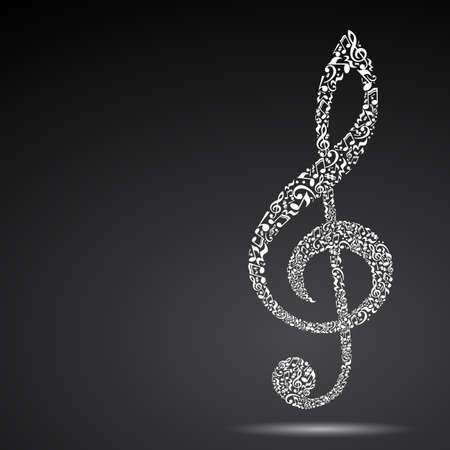 octaves: Treble clef made of music notes on black background. White notes pattern. Black and white design. G clef shape. Poster and decoration idea. Illustration