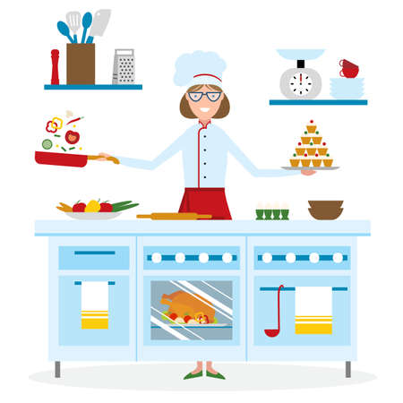 preparing: Female chef cooking on white background. Restaurant worker preparing food. Chef uniform and hat. Table and cafe equipment.