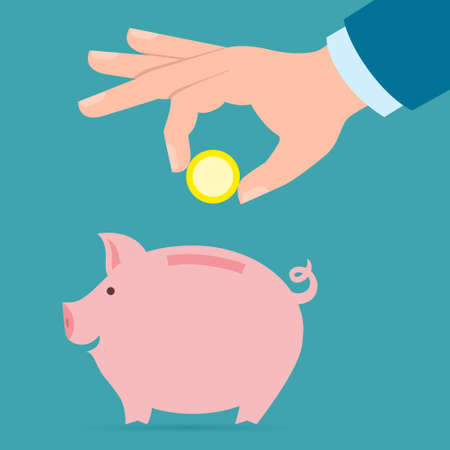 collect: Hand with coin and piggy bank. Hand holding coin. Concept of savings, earnings. Collect to pig bank.