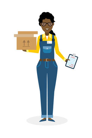 courier: Delivery woman with parcel. Fast transportation. Isolated african american cartoon character on white background. Postwoman, courier with clipboard and package.