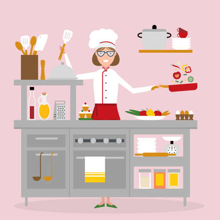preparing food: Female chef cooking on pink background. Restaurant worker preparing food. Chef uniform and hat. Table and cafe equipment.