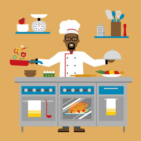 american table: Male african american chef cooking on brown background. Restaurant worker preparing food. Chef uniform and hat. Table and cafe equipment.