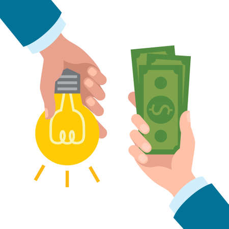 give money: You give idea and get money. Hands holding idea bulb and paper money. Concept of success and innovation.