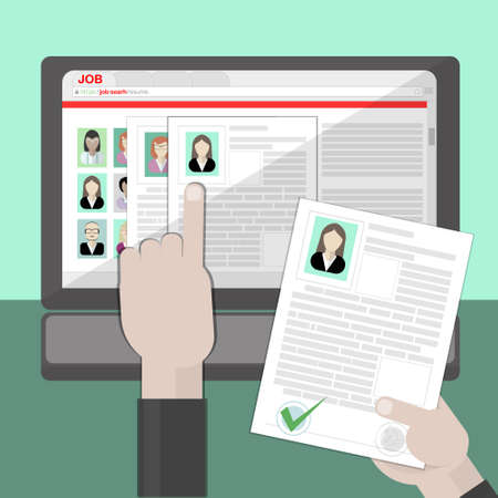 finding: Find resume and hiring. Finding staff on internet. Choose candidate and analyze cv. Professional company resources. Illustration