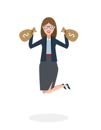 profit celebration: Businesswoman jumping in the air with money bag on white background. Concept of victory, business success and celebrating. Isolated happy businesswoman is excited.