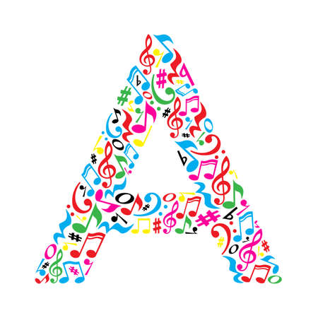 A letter made of colorful musical notes on white background. Alphabet for art school. Trendy font. Graphic decoration.
