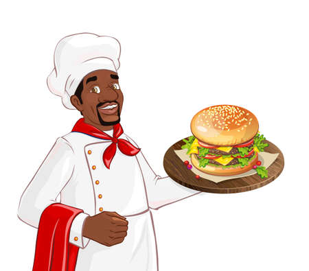cook hats: Chef holding burger on a tray. Isolated african american character on white background. Man serving in a restaurant, cafe. Illustration