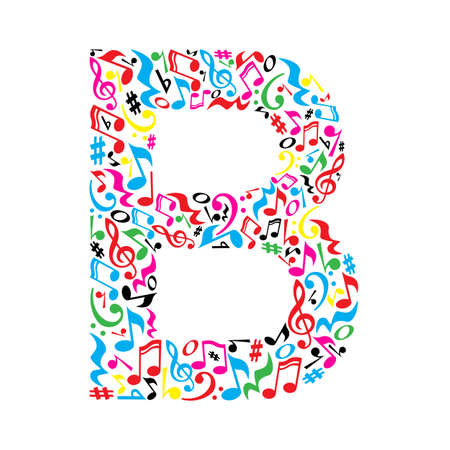 B letter made of colorful musical notes on white background. Alphabet for art school. Trendy font. Graphic decoration. Stock Illustratie