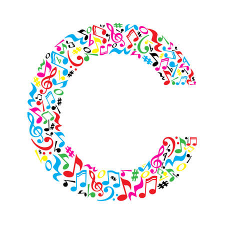 C letter made of colorful musical notes on white background. Alphabet for art school. Trendy font. Graphic decoration. Иллюстрация