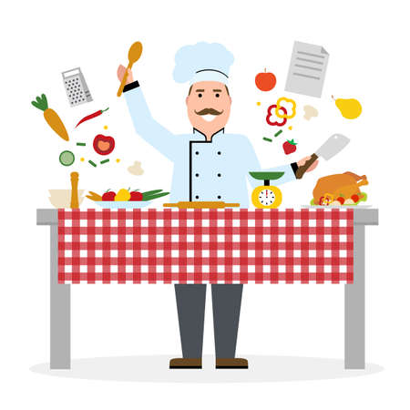 chef knife: Male chef cooking on white background. Restaurant worker chopping vegetables and holding a knife. Chef uniform and hat. Table and cafe equipment.