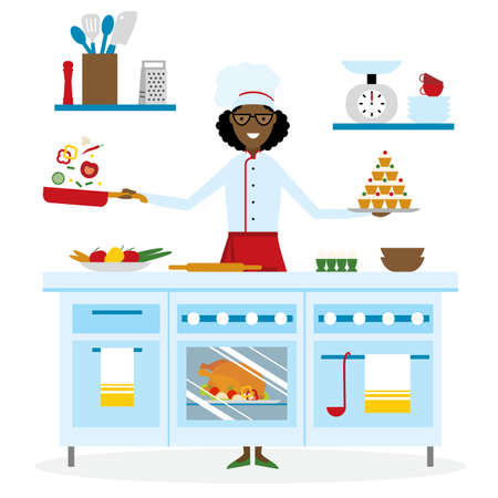 american table: Female african american chef cooking on white background. Restaurant worker preparing food. Chef uniform and hat. Table and cafe equipment. Illustration