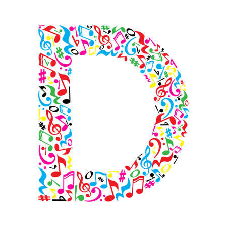 D letter made of colorful musical notes on white background. Alphabet for art school. Trendy font. Graphic decoration. Stock Illustratie