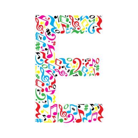 흰색 배경에 화려한 뮤지컬 메모를 만든 E 편지입니다. 예술 학교에 대한 알파벳입니다. 트렌디 한 글꼴입니다. 그래픽 장식.