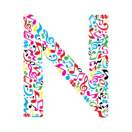 simbolos musicales: N carta hecha de notas musicales coloridas sobre fondo blanco. Alfabeto para la escuela de arte. la fuente de moda. decoración gráfica.